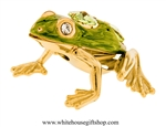Gold & Green Textured Northern Green Frog Ornament with Mint Green Swarovski Crystals