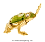 Gold & Green Textured Northern Green Frog Waving Ornament with Mint Green Swarovski® Crystals