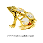 Gold Northern Tree Frog Ornament with Swarovski® Crystals
