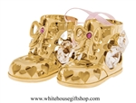 Gold Baby Girl's Holiday Booties Ornament with Light Rose Pink & Clear Swarovski® Crystals
