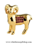 Gold Chinese Zodiac Year of the Goat Table Top Display with Ruby Red Swarovski® Crystals