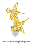 Gold Mini Hummingbird Duo with Swarovski® Crystals
