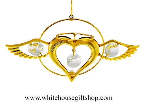 Gold Heart Angel Ornament Swarovski Crystals