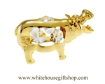 Gold Hippopotamus Ornament with Swarovski® Crystals