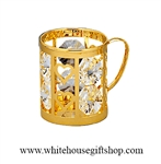 Gold Holiday Mug Ornament with Swarovski® Crystals