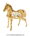 Gold Young Foal Horse desk model with Swarovski® Crystals