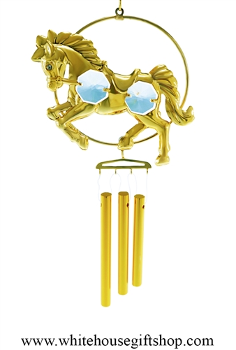 Gold Horse Chime Ornament with Swarovski® Crystals
