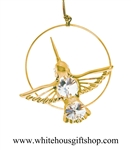 Gold Hummingbird Circle Ornament
