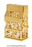 Gold Classic Jackpot Slot Machine Ornament with Swarovski Crystals