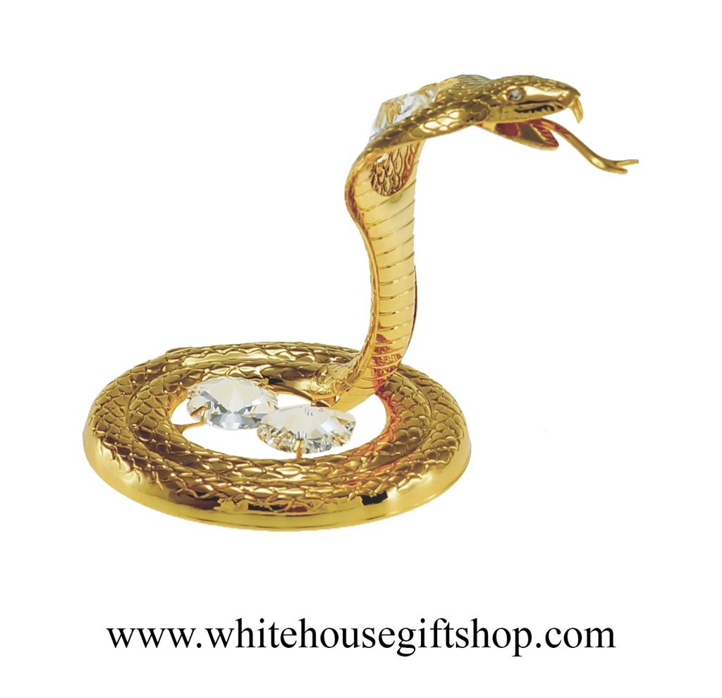 Ornament, Gold King Cobra Snake Ornament or Desk Model, Swarovski...