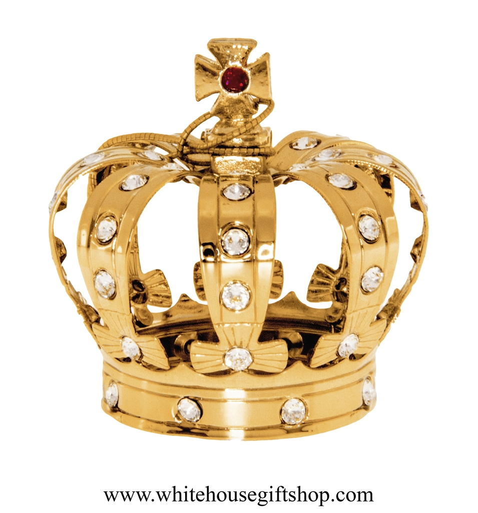 Ornament gold royal kings crown ornament or desk model swarovski gold royal kings crown ornament with swarovski crystals thecheapjerseys Image collections