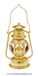 Gold Colored Classic Lantern Desk Model with Golden Yellow, Rose, Sky Blue, Light Pink, Violet, Mint Green, & Clear Swarovski Crystals
