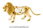 Gold Lion Ornament with Swarovski® Crystals