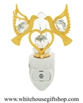Gold Love Doves Holding a Heart Nightlight with Swarovski® Crystals