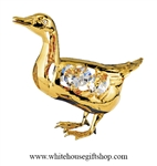 Gold Mallard Duck Ornament with Swarovski® Crystals.