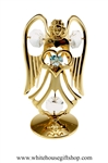 Gold Guardian Angel Birthstone Collection: March with Aquamarine Colored & Clear Swarovski® Crystals