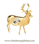 Gold North American Elk Ornament with Swarovski Crystals