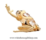 Gold Northern Frog Waving Ornament with Swarovski Crystals