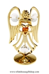Gold Guardian Angel Birthstone Collection: November with Citrine Orange Colored & Clear Swarovski Crystals