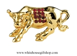 Gold Chinese Zodiac Year of the Ox Table Top Display with Ruby Red Swarovski Crystals