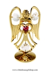 Gold Guardian Angel Birthstone Collection: October with Tourmaline Pink Colored & Clear Swarovski Crystals