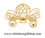 Gold Pumpkin Carriage Ornament with Swarovski Crystals