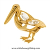 Gold Pelican Ornament with Swarovski Crystals