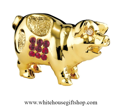 Gold Chinese Zodiac Year of the Pig Table Top Display with Ruby Red Swarovski Crystals