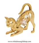 Gold Playful Cat Ornament with Swarovski Crystals