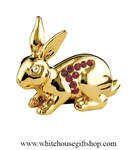 Gold Chinese Zodiac Year of the Rabbit Table Top Display with Ruby Red Swarovski Crystals