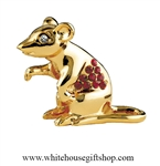 Gold Chinese Zodiac Year of the Rat Table Top Display with Ruby Red Swarovski Crystals