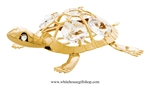 Gold Eastern River Turtle Ornament with Swarovski Crystals