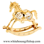 Gold Classic Rocking Horse Toy Table Top Display with Swarovski® Crystals