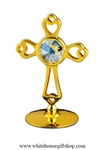 Gold Rounded Cross Table Top Display with Swarovski Crystals