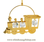 Gold Classic Steam Locomotive Circle  Ornament with Swarovski Crystals