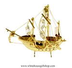 Gold Santa Maria Ship Ornament with Swarovski Crystals