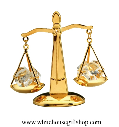 Gold Balance Scale Table Top Display with Swarovski Crystals
