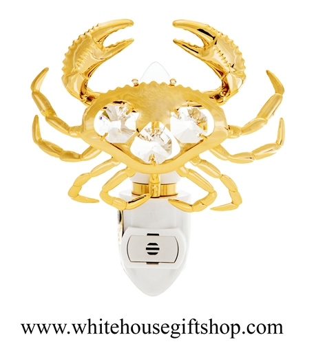 Gold Sea Crab Nightlight with Swarovski® Crystals