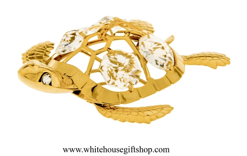Gold Sea Turtle Ornament with Swarovski Crystals