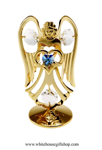 Gold Guardian Angel Birthstone Collection: September with Sapphire Blue Colored & Clear Swarovski Crystals