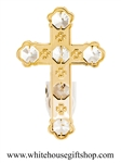 Gold Solid Cross Nightlight with Swarovski® Crystals