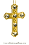 Gold Solid Cross Ornament with Swarovski Crystals