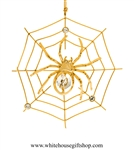 Gold Spider on a Web Ornament with Swarovski Crystals