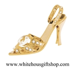 Gold Stiletto High Heel Shoe Crystal Ornament