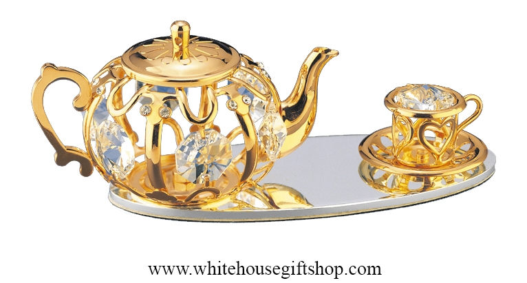 Gold Tea Set On Mirror Base Table Top Display with Swarovski Crystals  sc 1 st  White House Gift Shop & Table Top Gold Tea Set On Mirror Base Top Display Swarovski ...