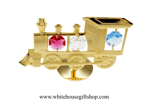 Gold Classic Steam Locomotive Table Top Display with Red, White, & Blue Swarovski Crystals