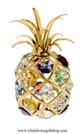 Gold Colorful Tropical Pineapple Ornament with Aquamarine, Rose, Golden Yellow, Clear, Light Pink, Medium Blue, & Violet Swarovski Crystals