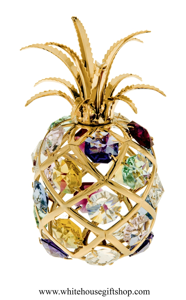 8ca6800db Gold Colorful Tropical Pineapple Ornament with Aquamarine, Rose, Golden  Yellow, Clear, Light