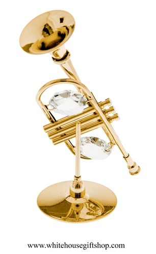Gold Trumpet Table Top Display with Swarovski Crystals