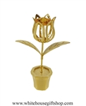 Gold Potted Tulip Table Top Display with Topaz Yellow Swarovski® Crystals